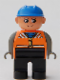 Minifig No: 4555pb206  Name: Duplo Figure, Male, Black Legs, Orange Vest, Dark Gray Arms, Construction Hat Blue