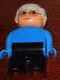 Minifig No: 4555pb209  Name: Duplo Figure, Male, Black Legs, Blue Top, Gray Hair, Glasses
