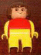 Minifig No: 4555pb210  Name: Duplo Figure, Female, Yellow Legs, Red Top with Yellow Arms, Brown Hair