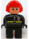 Minifig No: 4555pb214  Name: Duplo Figure, Male Fireman, Black Legs, Black Top with Fire Logo and Zipper, Red Aviator Helmet