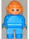 Minifig No: 4555pb215  Name: Duplo Figure, Male, Blue Legs, Blue Top, Aviator Helmet Fabuland Brown, no White in Eyes Pattern
