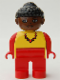 Minifig No: 4555pb223  Name: Duplo Figure, Female, Red Legs, Yellow Top with Red Necklace, Black Curly Hair in Bun, Brown Head