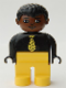 Minifig No: 4555pb224  Name: Duplo Figure, Male, Yellow Legs, Black Top and Yellow Striped Tie, Black Curly Hair, Brown Head