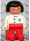Minifig No: 4555pb225  Name: Duplo Figure, Female Medic, Red Legs, White Top with EMT Star of Life Pattern, Black Hair