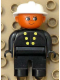 Minifig No: 4555pb226  Name: Duplo Figure, Male Fireman, Black Legs, Black Top with 6 Yellow Buttons, White Fire Helmet, Brown Head