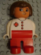 Minifig No: 4555pb230  Name: Duplo Figure, Female Medic, Red Legs, White Top, Brown Hair, Red Cross