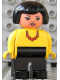 Minifig No: 4555pb232  Name: Duplo Figure, Female, Black Legs, Yellow Blouse with Red Necklace, Black Hair, Asian Eyes