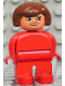Minifig No: 4555pb233  Name: Duplo Figure, Female, Red Legs, Red Top, Brown Hair