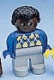 Minifig No: 4555pb239  Name: Duplo Figure, Male, Light Gray Legs, Blue Argyle Sweater, Black Hair, Brown Head