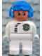 Minifig No: 4555pb244  Name: Duplo Figure, Male, White Legs, White Top with Black Zipper and Racer #2, Blue Aviator Helmet
