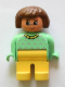 Minifig No: 4555pb246  Name: Duplo Figure, Female, Yellow Legs, Light Green Top with Purple Dots, Yellow Collar, Brown Hair