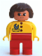 Minifig No: 4555pb248  Name: Duplo Figure, Female, Red Legs, Yellow Top with Red Buttons & Wrench in Pocket, Brown Hair, Turned Up Nose