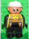 Minifig No: 4555pb250  Name: Duplo Figure, Male Fireman, Black Legs, Yellow Top with Flame and Orange Suspenders, White Fire Helmet, no Moustache