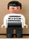 Minifig No: 4555pb252  Name: Duplo Figure, Male, Black Legs, White Top with 2-672 Number on Chest, Black Hair, White Hands, Stubble, Moustache Stubble (Jailbreak Joe)