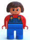 Minifig No: 4555pb253  Name: Duplo Figure, Female, Blue Legs, Red Top with Blue Overalls, Brown Hair, Turned Up Nose