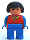 Minifig No: 4555pb254  Name: Duplo Figure, Female, Blue Legs, Red Top With Yellow And Red Polka Dot Scarf, Blue Arms, Black Hair, without Nose