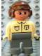 Minifig No: 4555pb255  Name: Duplo Figure, Male, Dark Gray Legs, Tan Top, Brown Aviator Helmet