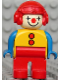 Minifig No: 4555pb256  Name: Duplo Figure, Male Clown, Red Legs, Yellow Top with 2 Buttons, Blue Arms, Red Aviator Helmet