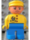 Minifig No: 4555pb258  Name: Duplo Figure, Male, Blue Legs, Yellow Top with Wrench in Pocket, Yellow Cap, Asian Eyes