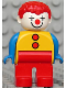 Minifig No: 4555pb259  Name: Duplo Figure, Male Clown, Red Legs, Yellow Top with 2 Buttons, Blue Arms, Red Hair Curly