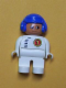 Minifig No: 4555pb262  Name: Duplo Figure, Male, White Legs, White Top with Black Zipper and Racer #1, Blue Aviator Helmet