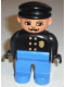 Minifig No: 4555pb266  Name: Duplo Figure, Male Police, Blue Legs, Black Top with Gold Badge, Black Hat, Turned Down Nose and Elliptical Eyes