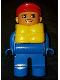 Minifig No: 4555pb267  Name: Duplo Figure, Male, Blue Legs, Blue Top, Life Jacket, Red Cap, with White in Eyes pattern