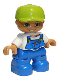 Minifig No: 47205pb002  Name: Duplo Figure Lego Ville, Child Boy, Blue Legs, White Top with Blue Overalls, Worms in Pocket, Lime Cap