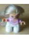 Minifig No: 47205pb003  Name: Duplo Figure Lego Ville, Child Girl, White Legs, Pink Top, Blond Hair (Princess)