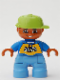 Minifig No: 47205pb014  Name: Duplo Figure Lego Ville, Child Boy, Medium Blue Legs, Blue Top with 'SKATE' Text Pattern, Lime Cap