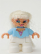 Minifig No: 47205pb017  Name: Duplo Figure Lego Ville, Child Girl, White Legs, Bright Light Blue Top with Heart Pattern, Blond Hair (Princess)