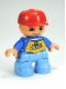 Minifig No: 47205pb024  Name: Duplo Figure Lego Ville, Child Boy, Medium Blue Legs, Blue Top with 'SKATE' Pattern, Red Cap