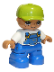 Minifig No: 47205pb025a  Name: Duplo Figure Lego Ville, Child Boy, Blue Legs, White Top with Blue Overalls, Lime Cap, Freckles, Oval Eyes
