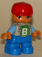 Minifig No: 47205pb026a  Name: Duplo Figure Lego Ville, Child Boy, Blue Legs, Light Bluish Gray Top with Number 8, Medium Blue Arms, Red Cap, Freckles, Oval Eyes