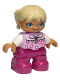 Minifig No: 47205pb028a  Name: Duplo Figure Lego Ville, Child Girl, Magenta Legs, Bright Pink Top with Flowers, Tan Hair with Braids, Round Blue Eyes