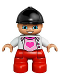 Minifig No: 47205pb029  Name: Duplo Figure Lego Ville, Child Girl, Red Legs, White Top with Heart, Black Riding Helmet