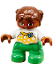 Minifig No: 47205pb039  Name: Duplo Figure Lego Ville, Child Girl, Green Legs, White Top with Yellow Pattern and Blue Bow, Brown Hair, Brown Head, Magenta Glasses