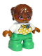 Minifig No: 47205pb039a  Name: Duplo Figure Lego Ville, Child Girl, Bright Green Legs, White Top with Yellow Pattern and Blue Bow, Brown Hair, Brown Head, Magenta Glasses, Oval Eyes