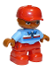 Minifig No: 47205pb042a  Name: Duplo Figure Lego Ville, Child Boy, Red Legs, Medium Blue Top with Zipper and Blue, Red and White Stripes, Red Cap, Oval Eyes