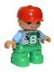 Minifig No: 47205pb043a  Name: Duplo Figure Lego Ville, Child Boy, Bright Green Legs, Light Bluish Gray Top with '8' Pattern, Medium Blue Arms, Red Cap, Oval Eyes