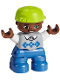 Minifig No: 47205pb044  Name: Duplo Figure Lego Ville, Child Boy, Blue Legs, Light Bluish Gray Sweater, White Arms, Lime Cap