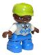 Minifig No: 47205pb044a  Name: Duplo Figure Lego Ville, Child Boy, Blue Legs, Light Bluish Gray Argyle Sweater Vest, White Arms, Lime Cap, Oval Eyes
