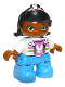 Minifig No: 47205pb045  Name: Duplo Figure Lego Ville, Child Girl, Medium Azure Legs, White Jacket and Pink Top with Bunny Pattern, Black Hair with Pink Band and Bunny Pattern