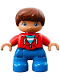 Minifig No: 47205pb056  Name: Duplo Figure Lego Ville, Child Boy, Blue Legs, Red Top with Zipper and Pockets, Reddish Brown Hair