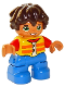 Minifig No: 47205pb066  Name: Duplo Figure Lego Ville, Child Boy, Blue Legs, Yellow Vest, Red Arms, Reddish Brown Hair