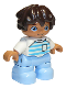 Minifig No: 47205pb068  Name: Duplo Figure Lego Ville, Child Boy, Bright Light Blue Legs, White Top with Medium Azure and Light Aqua Stripes, White Arms, Reddish Brown Hair