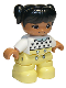 Minifig No: 47205pb069  Name: Duplo Figure Lego Ville, Child Girl, Bright Light Yellow Legs, White Top with Black Hearts, Black Hair with Ponytails