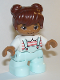 Minifig No: 47205pb071  Name: Duplo Figure Lego Ville, Child Girl, Light Aqua Legs, White Top with Coral Stripes, Reddish Brown Hair