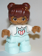 Minifig No: 47205pb072  Name: Duplo Figure Lego Ville, Child Girl, Light Aqua Legs, White Top with Coral Stripes in Heart, Reddish Brown Hair