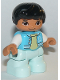 Minifig No: 47205pb074  Name: Duplo Figure Lego Ville, Child Boy, Light Aqua Legs, Medium Azure Jacket, Bright Light Yellow Shirt, White Arms, Black Hair